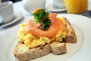 Salmon and egg on toast.