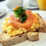 Scrambled egg & salmon.