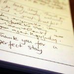 Close up of Ogilvy House Guest Book.